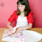 A girl gift wrapping a jump rope