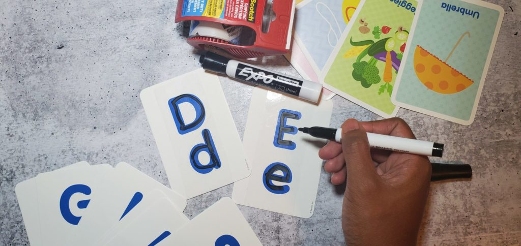 DIY dry erase alphabet cards by OT outside the box.