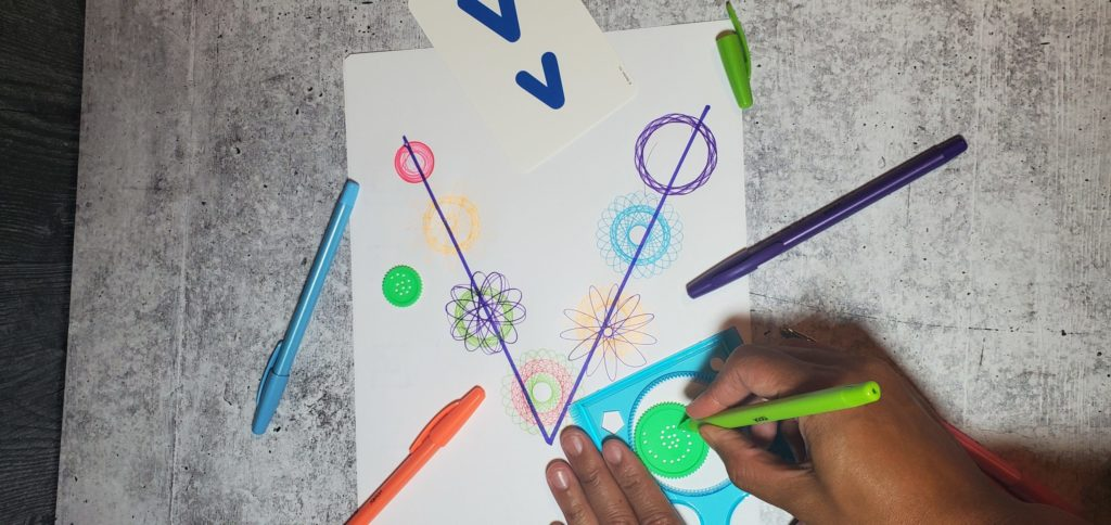Spirograph can be used for fine motor and bilateral coordination.