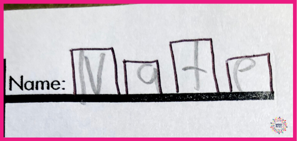 Providing visual boundaries of individual letter boxes for a student to write their name will support spatial organization.
