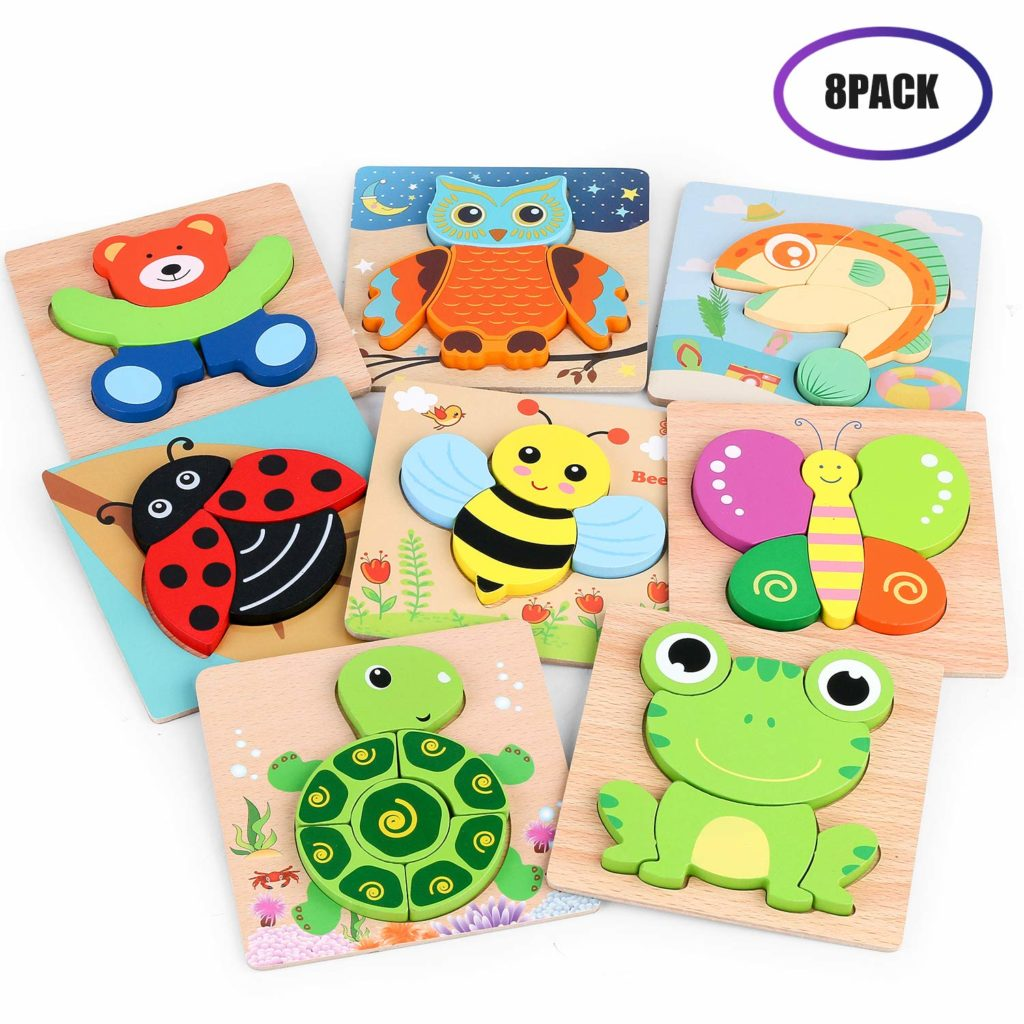 8 Colorful Animals Pattern Simple jigsaw puzzles