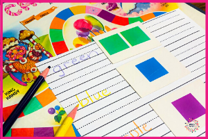 Candyland is a great game for incorporating handwriting. You can have your child write the color they draw on the card with a differing colored pencil for some cognitive exercise.