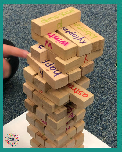 Adapting Jenga to have different letters and words on the sides of the blocks makes it a top favorite game for handwriting practice.