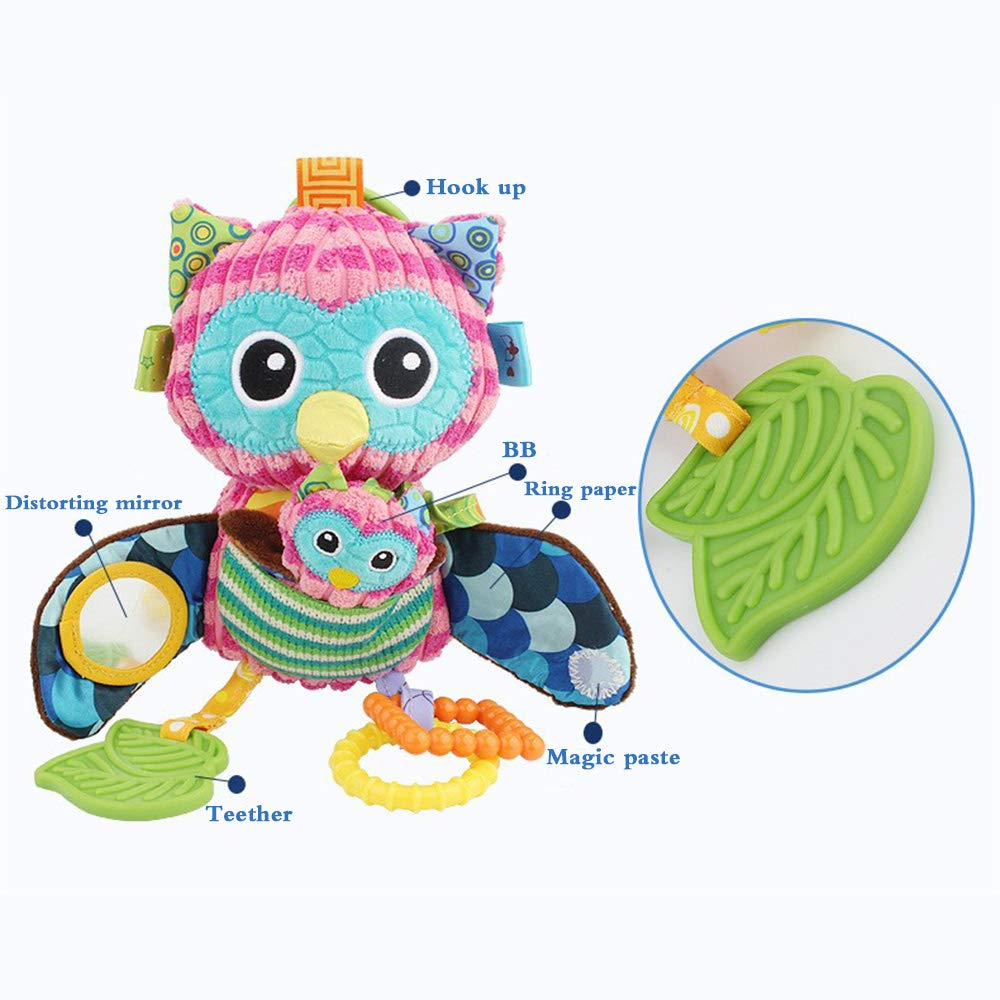 Owl sensory toy with squeaker, kids mirror & BPA-free teether is a great toy for oral and tactile exploration.