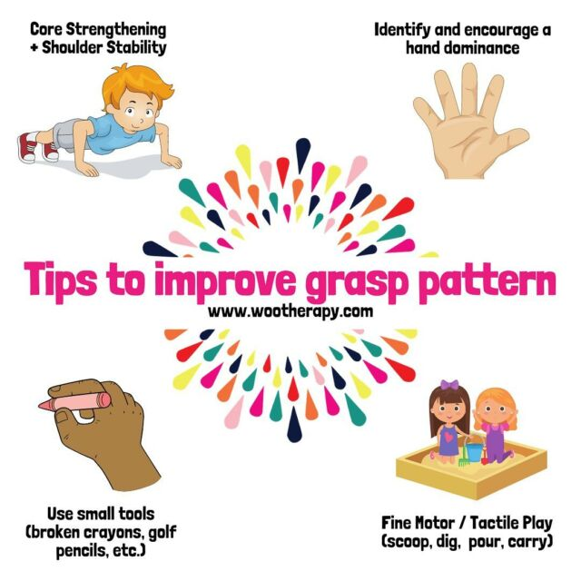 It's a huge misconception that adjusting a child's grasp pattern is as easy as putting on a pencil grip. This couldn't be more WRONG.   For starters, I've seen 100s of different pencil grips and recommended many of them based on what I see going on with the child's hand structure and habits. So ultimately, ONE SIZE DOES NOT FIT ALL 😕  At the end of the day, it's most important for the child to have the necessary underlying skills to truly be responsive to external supports.   These ideas are a solid place to start supporting and priming a child to making changes to their grasp pattern. 🖐🏼