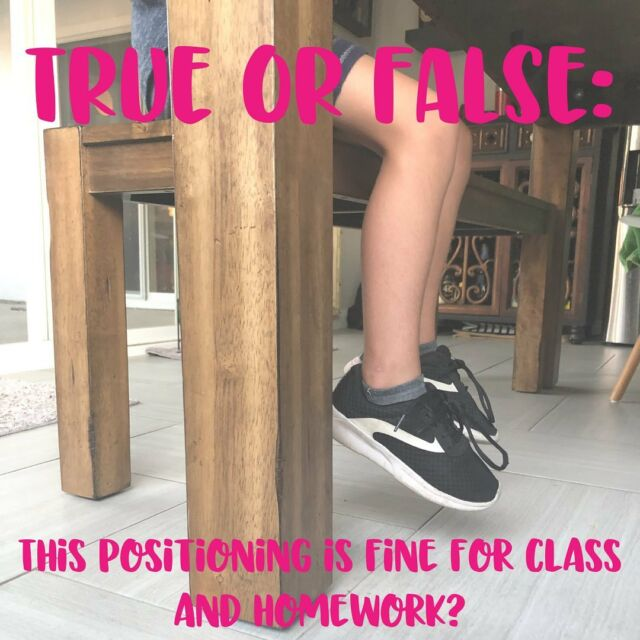 🚩🚩🚩FALSE🚩🚩🚩  If you have students that struggle to stay in their seat for an age appropriate length of time and/or rarely stay on task, you need to check out their posture and positioning.  Let's be sure kids feet are flat on the floor or supported with a foot stool to give their bodies the info it needs regarding where they are in space.  Grab your Desk Check in the bio (@wootherapy) and drop your favorite tip to Improve Body Awareness in the Classroom in the comments! 💥  #BodyAwareness #DeskCheck #TeachersEmpoweringTeachers #TeacherTips #AllStudentsAchieve