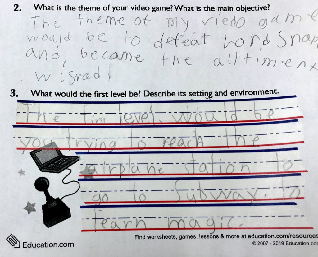 Sample of a fourth grader using WooTape 2 to improve letter sizing, proportions, and alignment of essay style writing.