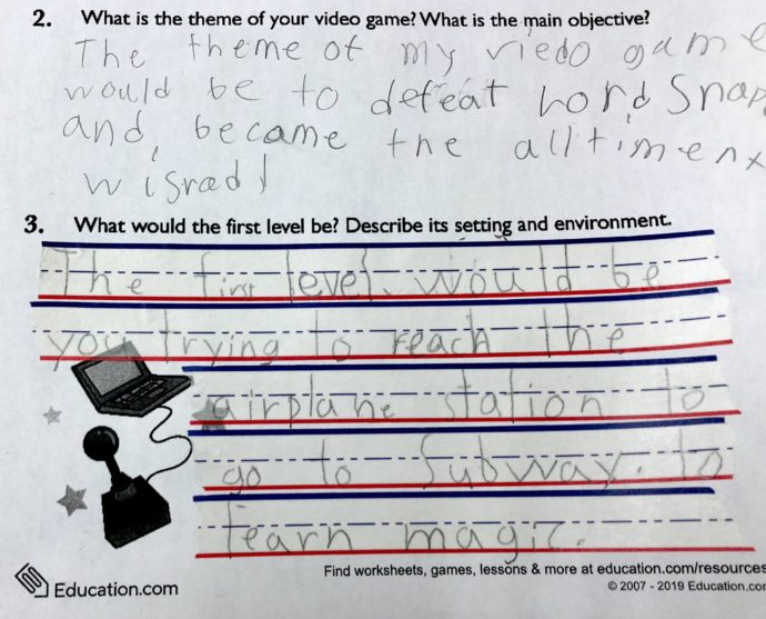 Sample of a fourth grader using WooTape 2 to support sizing, proportions, and alignment of essay style writing.